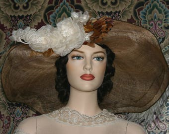 Fashion Hat, Kentucky Derby Hat, Edwardian Hat, Del Mar Hat, Ascot Hat, Wide Brim Hat, Copper & Ivory Hat - Lady Penny