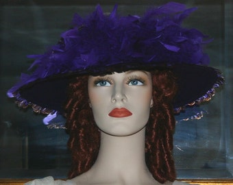 Kentucky Derby Hat, Ascot Hat, Edwardian Hat, Titanic Hat, Feathers - Shades of Purple Mist - 2 Weeks for Completion