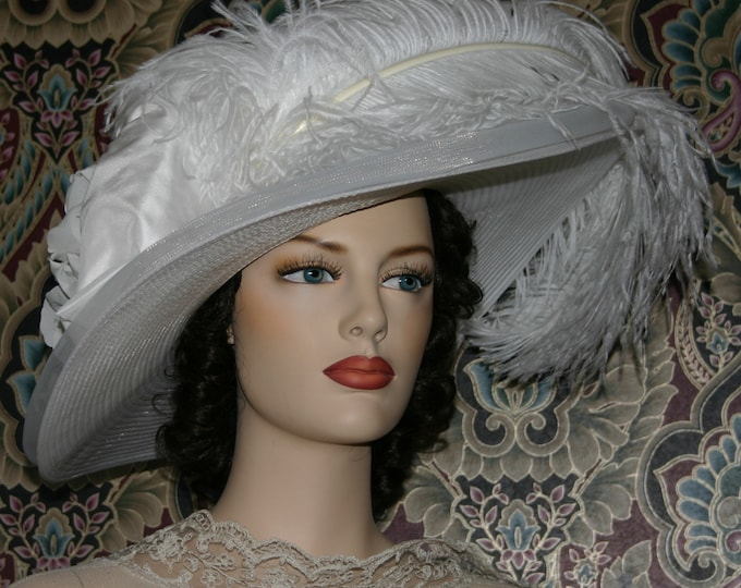 Featured listing image: Kentucky Derby Hat, Ascot Hat, Edwardian Hat, Downton Abbey Hat, Wedding Hat, Wide Brim Hat, Del Mar Hat - Lady Adella