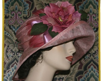 Edwardian Hat, Gatsby Hat, Downton Abbey Hat, Church Hat, Titanic Hat, Easter Hat - Rosy O'Brian - One of a Kind Design