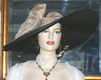 "Black & Latte Kentucky Derby Hat, Ascot Hat, Edwardian Hat, Southern Belle Wedding Hat, Ascot Hat 22"" Wide Brim - Latte Lady"