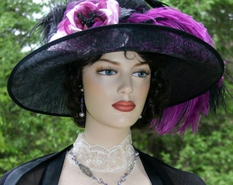 Edwardian Hat, Kentucky Derby Hat, Ascot Hat, Titanic Hat, Somewhere Time Hat, Tea Party Hat - Countess of Grantham