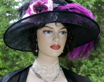 Edwardian Hat, Downton Abbey Hat, Kentucky Derby Hat, Ascot Hat, Titanic Hat, Somewhere Time Hat, Tea Party Hat - Countess of Grantham