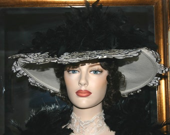 Edwardian Hat, Kentucky Derby Hat, Titanic Hat, Somewhere Time Hat, Feathers - Lady Anna - 2 Weeks for Completion