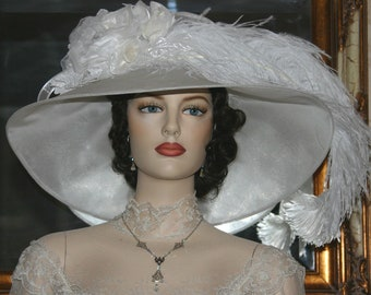 Fashion Hat, Kentucky Derby Hat, Ascot Hat, Edwardian Tea Hat, Titanic Hat, Somewhere Time Hat, White Hat, Wedding Hat - Run for the Roses