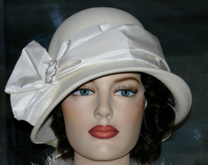 Featured listing image: Flapper Hat, Downton Abbey Hat, Edwardian Wedding Hat, Ascot Hat, Gatsby Hat, Roaring Twenties Hat, Kentucky Derby Hat - Lady Josephine