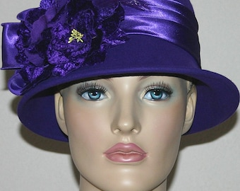 Flapper Hat, Red Hat Society, Purple Hat, Cloche Hat, Miss Fisher Hat, Gatsby Hat, Roaring Twenties Hat - Madame Plum
