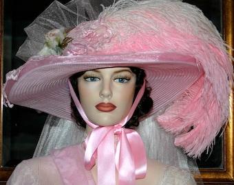 Alice Wonderland Hat, Kentucky Oaks Hat, Ascot Hat, Victorian Hat, Fantasy Hat, Southern Belle Hat, Wide Brim Hat - Mademoiselle Aubrienne