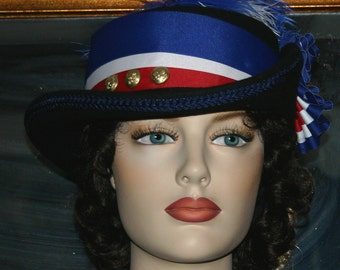 Victorian Hat, Civil War Hat, Vivandiere Hat, Riding Hat, Sidesaddle Hat, Women's Red White & Blue Hat, Fashion Hat, Patriotic Hat - Iowa