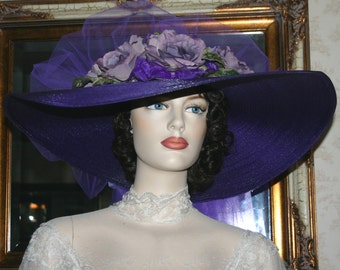 Victorian Hat, Derby Hat, Ascot Hat, Picnic Hat, Del Mar Hat, Southern Belle Hat, Titanic Hat, Royal Wedding Hat - Sweetheart of Ritzville
