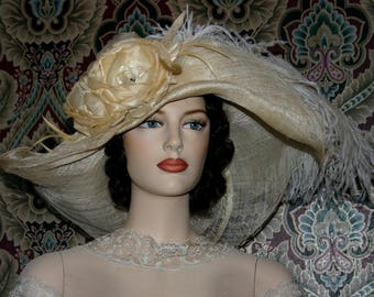 Kentucky Derby Hat Ascot Edwardian Tea Hat Titanic Somewhere Time Hat Downton Abbey Hat Women's Beige Hat One of a Kind - Picture Perfect