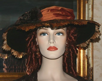 Edwardian Hat, Copper Brown Hat, Kentucky Derby Hat, Ascot Hat, Tea Hat - Mademoiselle Gabrielle - 4-6 Weeks for Completion
