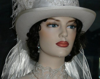 Kentucky Derby Hat, Ascot Hat, Edwardian Hat, Victorian Hat, Riding Hat, SASS Hats, Victorian Top Hat, White Hat, Wedding Hat - Lady Lisa