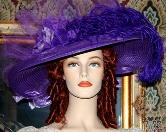 Edwardian Hat, Kentucky Derby Hat, Ascot Hat, Tea Party Hat, Titanic Hat, Somewhere Time Hat, Garden Party Hat - Purple Rose Delight