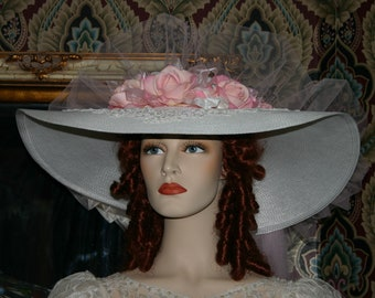 "Victorian Hat, Kentucky Derby Hat, Ascot Hat, Roses Hat, Southern Belle Hat, Church Hat, 22"" Wide Brim Hat - Sweetheart of Abilene"