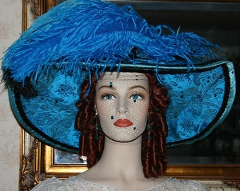Kentucky Derby Hat, Ascot Hat, Del Mar Hat, Couture Hat, Fashion Hat, Edwardian Hat You choose Colors - China Doll 4-6 Weeks for Completion