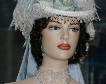 Ivory & Aqua Hat, Kentucky Derby Hat, SASS Hat, Victorian Hat, Riding Hat, Wedding Hat, Cocktail Hat - Spirit of Matawan
