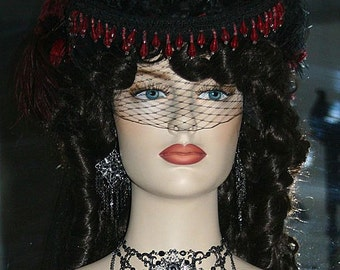 Victorian Hat Wedding Hat Women's Black Red Wine Hat - LadyLovely