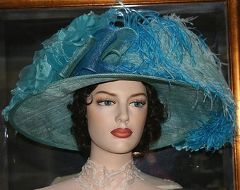 Edwardian Hat, Kentucky Derby Hat, Downton Abbey Hat, Titanic Hat, Ascot Hat, Tea Party Hat - Kentucky Bluegrass