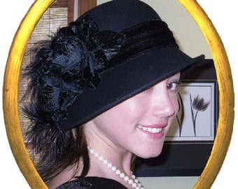 Flapper Hat, Edwardian Hat, Winter Hat, Gatsby Hat, Tea Party Hat, Cloche Hat, Women's Black Hat - Lady Marguerite