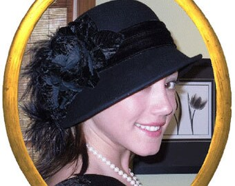 Flapper Hat, Edwardian Hat, Downton Abbey Hat, Gatsby Hat, Tea Party Hat, Cloche Hat, Women's Black Hat - Lady Marguerite
