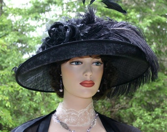 Edwardian Hat, Kentucky Derby Hat, Ascot Hat, Tea Party Hat, Ascot Hat, Wide Brim Hat - Countess of Grantham