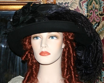 Kentucky Derby Hat Ascot Edwardian Church Hat Downton Abbey Hat Ascot Hat Women's Wool Hat Black Hat - Lady Ashcroft