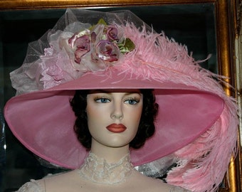 Kentucky Derby Hat, Oaks Hat, Ascot Hat, Edwardian Hat, Downton Abbey Hat, Pink Hat, Royal Wedding Hat - Run for the Roses