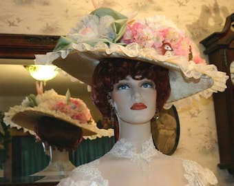 Choose Your Own Colors, Edwardian Hat, Titanic Hat, Somewhere Time Hat, Downton Abbey Hat - Miss Spring Song  3 Weeks for Completion