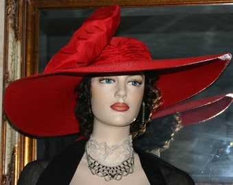 "Kentucky Derby Hat, Ascot Hat, Edwardian Hat, Wedding Hat, Church Hat, Red Hat, 22"" Wide Brim Hat, Tea Party Hat, Fashion Hat - Titanic"
