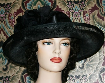 Edwardian Hat, Church Hat, Funeral Hat, Mourning Hat, Downton Abbey Hat, Medium Brim Hat, Black Hat - Lady Helena