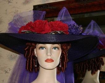 Kentucky Derby Hat, Ascot Hat, Edwardian Tea Hat, Titanic Hat, Southern Belle Hat, Women's Purple & Red Hat - Sweetheart of Atlanta