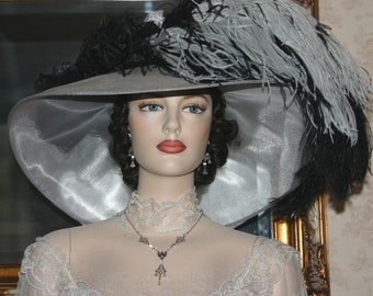 Del Mar Hat, Kentucky Derby Hat, Ascot Hat, Edwardian Hat, Organza Tea Party Hat, Downton Abbey Hat, Wide Brim Hat - Run for the Roses