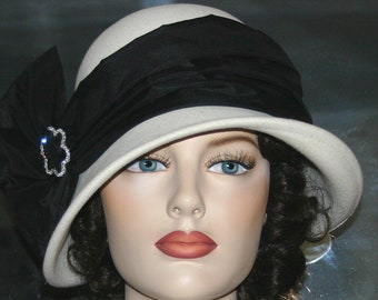 Flapper Hat, Tea Party Hat, Gatsby Hat, Church Hat, Kentucky Derby Hat, Ascot Hat, Women's Ivory & Black Hat - Josephine