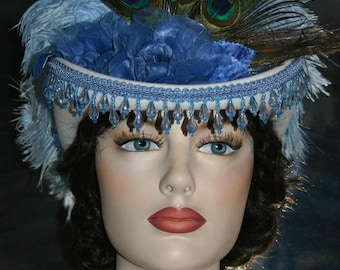 Victorian Hat, Riding Hat, Sidesaddle Hat, Blue & White Hat  Womens Western Hat, Tea Party Hat, Wedding Hat, Royal Ascot - Spirit of Marengo