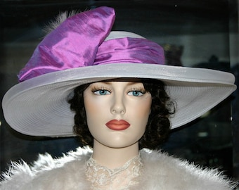 Kentucky Derby Hat, Wide Brim Hat, Tea Hat, Titanic Hat, Somewhere in Time Hat, Edwardian Hat, Women's Hat, White Pink Hat - Titanic