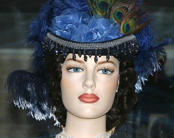 Victorian Hat, Derby Hat, Steampunk Hat, Sidesaddle Hat, Sass Hat, Blue Hat - Bloomfield