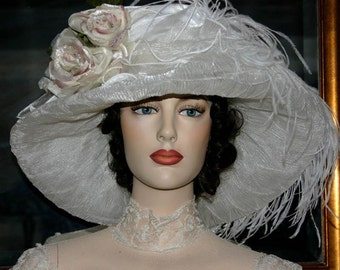 Kentucky Derby Hat, Ascot Hat, Edwardian Tea Hat, Titanic Hat. Somewhere Time Hat, Downton Abbey Hat. Women's Ivory & Pink Hat - Lady Alexia