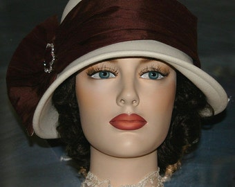Flapper Hat, Downton Abbey Hat, Cloche Edwardian Hat, Church Hat, Ascot Hat, Gatsby Hat, Kentucky Derby Hat, Ivory Brown Hat - Josephine