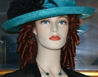 Edwardian Hat, Church Hat, Easter Hat, Downton Abbey Hat, Women's Aqua Gatsby Hat, Medium Brim Hat - Lady Charmaine