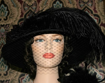 Edwardian Hat, Downton Abbey Hat , Ascot Hat, Kentucky Derby Hat, Titanic Tea Hat, Somewhere Time Hat, Tea Party Hat - Lady Margaret