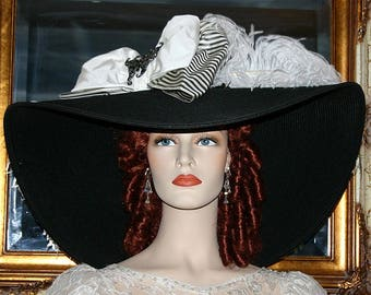 "Kentucky Derby Hat, Ascot Hat, Edwardian Hat, Titanic Hat, Tea Party Hat,  24"" Wide Brim Hat  - Triple Crown  3 Weeks for Completion"