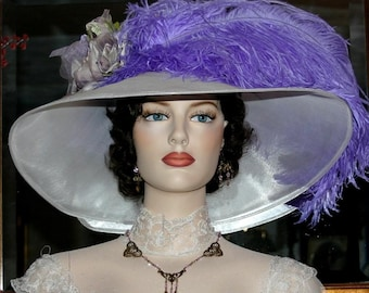 Kentucky Derby Hat, Ascot Hat, Edwardian Hat, Titanic Hat, Somewhere Time Hat, Royal Wedding Hat, Fashion Wide Brim Hat - Run for the Roses