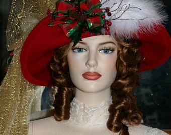 Edwardian Hat, Christmas Hat, Holiday Tea Hat, Mrs Santa Claus Hat - Spirit of Christmas - Red Hat - Earthy! Yet Elegant!