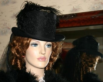 Victorian Hat, Edwardian Hat, Riding Hat, Steampunk Hat, Mourning Hat, SASS Hat, Women's Black Top Hat with 2T Veil, Fashion Hat - Victoria