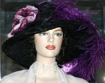 Kentucky Derby Hat Ascot Edwardian Tea Party Hat Titanic Hat Somewhere Time Hat Women's Wide Brim Hat Black & Eggplant Hat - Lady Alexia
