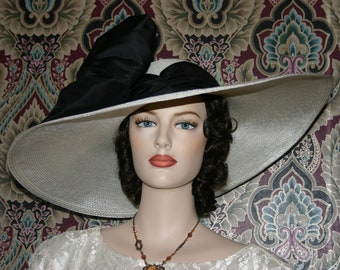 Kentucky Derby Hat, Ascot Hat, Edwardian Tea Hat, Titanic Hat, Somewhere in Time Hat, Ivory & Black Hat - Titanic