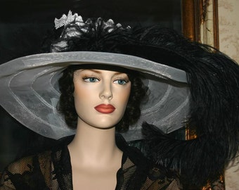 Kentucky Derby Hat Victorian Tea PartyHat - Ebony & Ivory Crystal Fairy