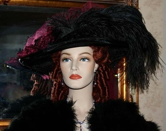 Kentucky Derby Hat, Victorian Hat, Tea Party Hat, Steampunk Hat, Ascot Hat, Titanic Hat, Fashion Hat, Womens Wide Brim - Burgundy Delight