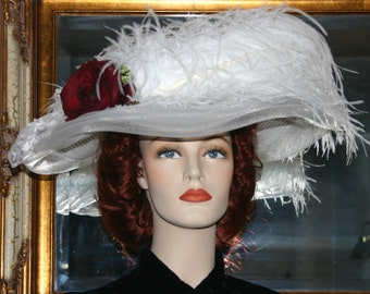 Kentucky Derby Hat, Ascot Hat, Edwardian Hat, Fashion Hat, Women's White Hat, Wide Brim Hat, Garden Party Hat, Wedding Hat - Lady Katherine